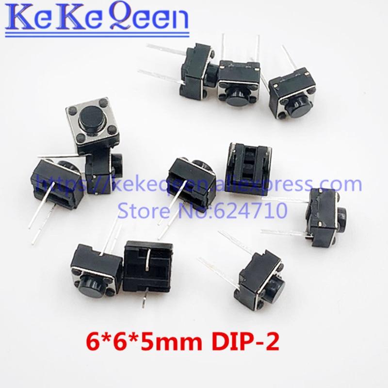1000 pçs 6*6*5mm 6x6x5mm dip-2 p interruptores de botão tátil tato micro interruptor frete grátis