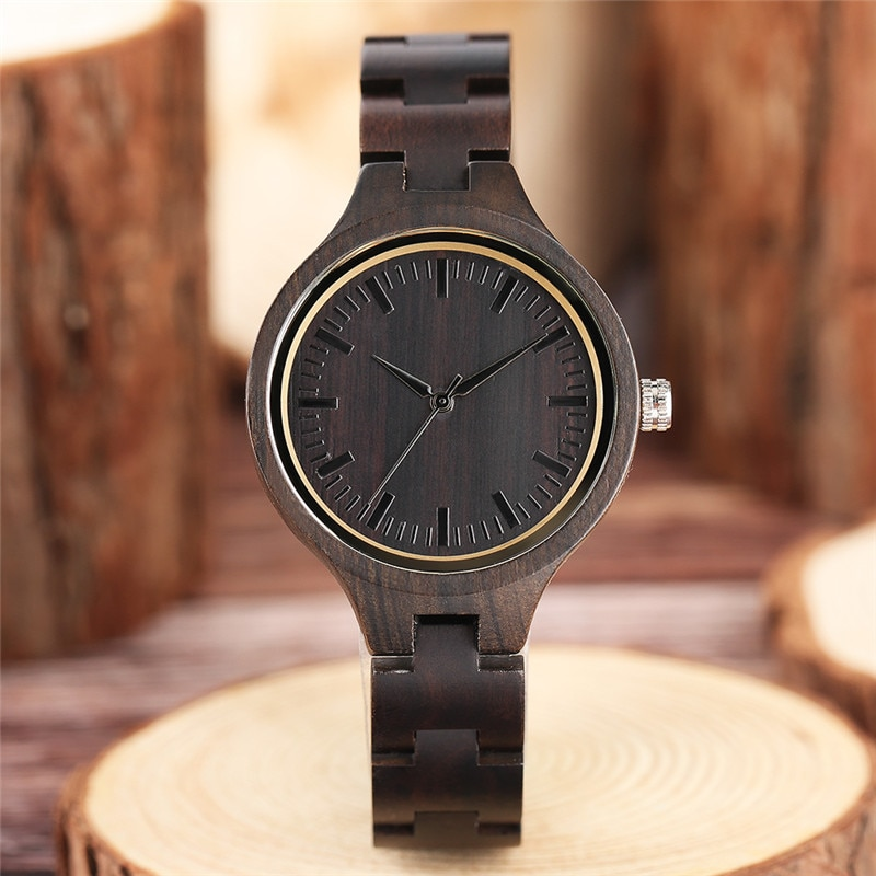 Женские кварцевые часы, полностью из натурального черного дерева, ручной работы, тонкий браслет, 2020, подарки на Рождество