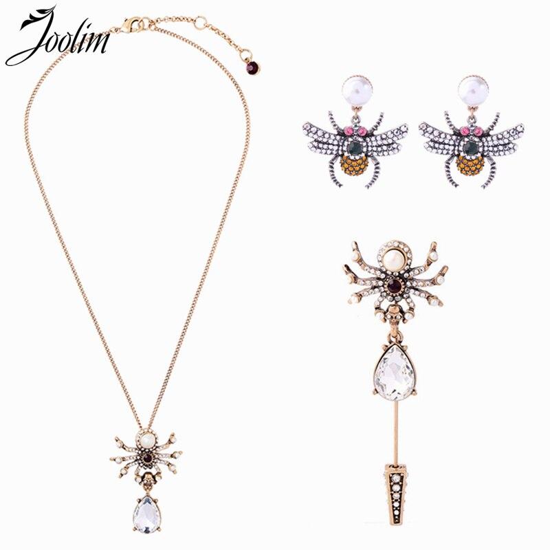 JOOLIM lindo perla collar con forma de araña broche conjunto de joyas, insectos joyas