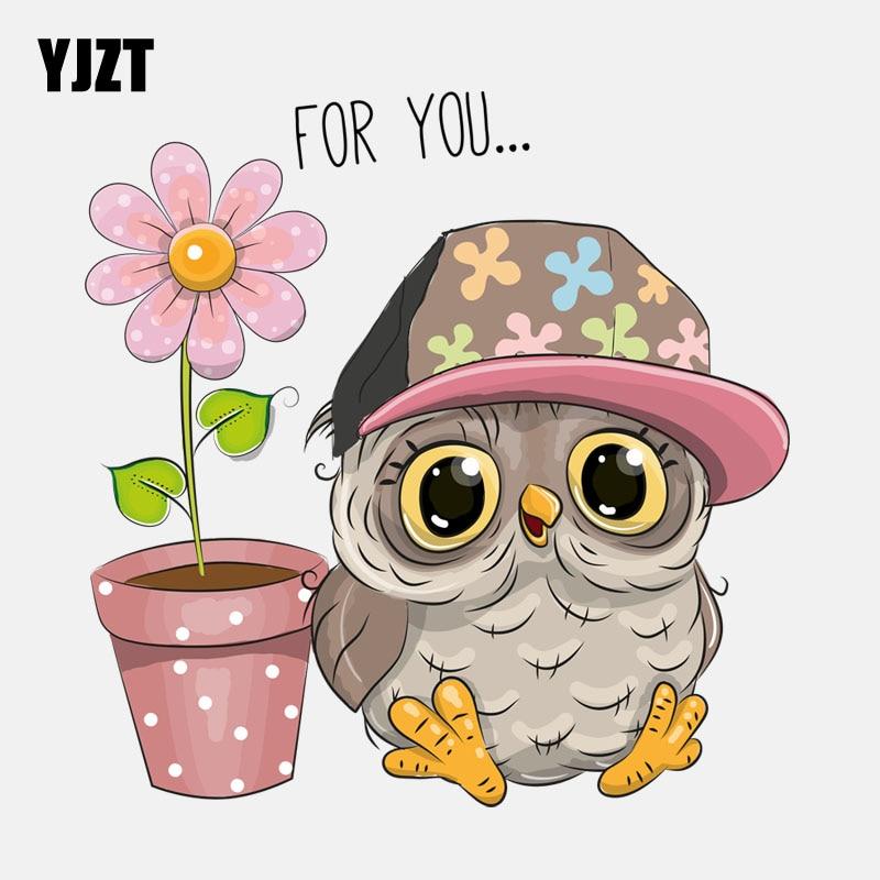 YJZT, 16,5 CM * 16,7 CM, búho y flores en maceta para usted, pegatina de coche de alta calidad de PVC 11-01359