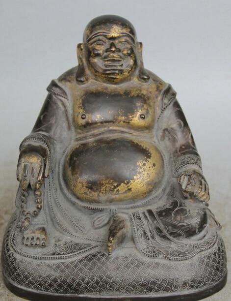 "Dr524 8 ""Chino Budismo Bronce Gild Asiento bolsa de dinero Feliz Laugh Maitreya Buddha Estatua"