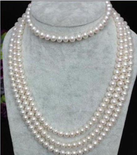 long 100''natural akoya white pearl necklace 14k/20 gold