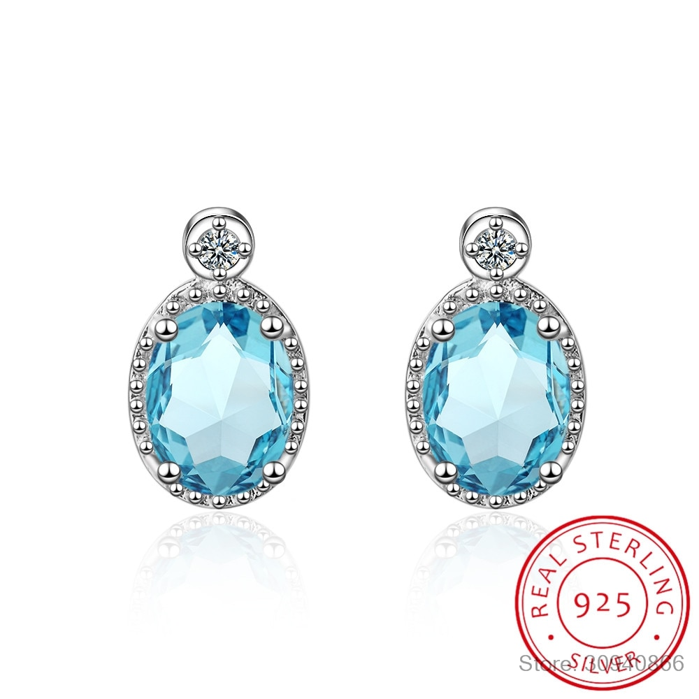 Lekani 1.9ct genuíno azul topázio brincos do parafuso prisioneiro 925 brincos de prata esterlina para mulheres coreano brincos jóias finas 2020