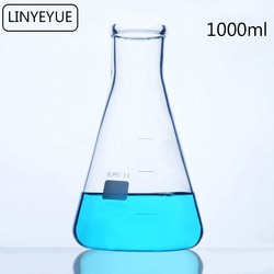 LINYEYUE 1000mL Erlenmeyer de Vidro Erlenmeyer Química Equipamentos De Laboratório de Borosilicato de alta resistência à temperatura