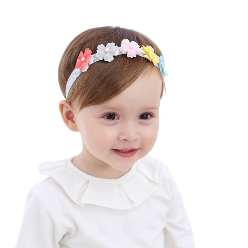 Baby Girl Headband Lovely Pearl Flower Hairband Head-wear Birthday Wear Hair Accessories Toddler Dress Up