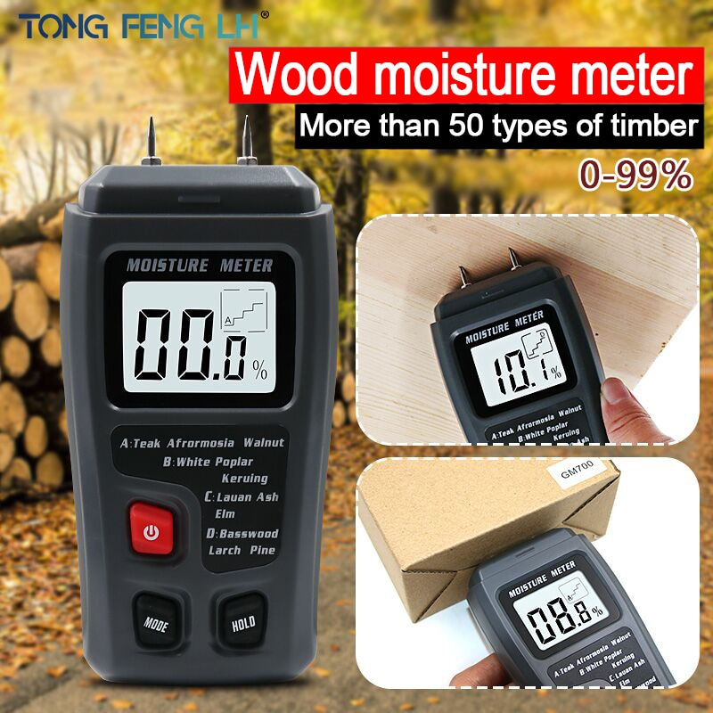 EMT01 medidor de humedad de madera Digital de dos pines 0-99.9% medidor de humedad de madera Detector de humedad de madera con gran pantalla LCD