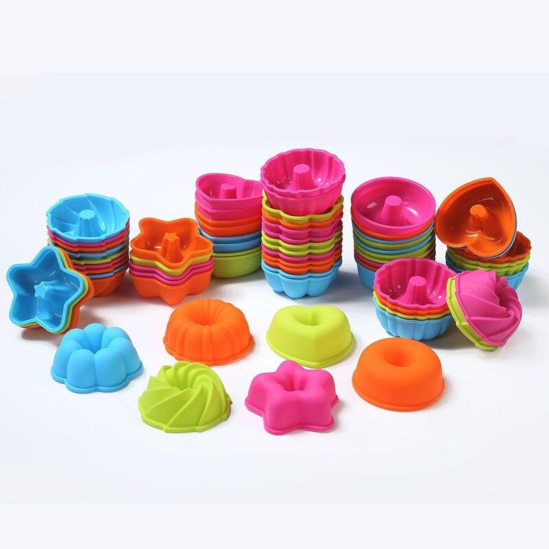 24 unids/set molde de silicona para rosquilla herramientas para hornear molde para magdalenas molde Fondant molde de pastel decoración herramientas de decoración, molde de silicona moldes de silicona