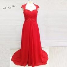 Vestidos de Festa Formal Plus Size Red Evening Dresses Lace Long Mother Prom Dress Bead Backless Sweep Train Abiye Gece Elbisesi