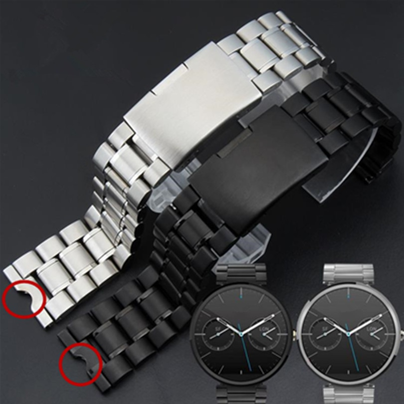 22mm New Mens Stainless Steel Watchbands Bracelet for Moto 360 Smart Watch Band Moto360+Tool