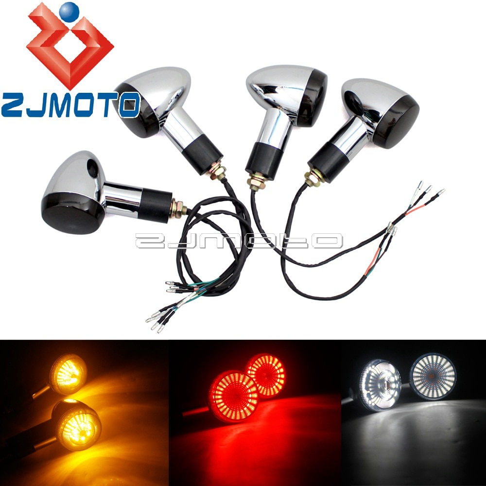 Chrome Motorcycle LED 3 in 1 Bullet Rear Turn Signals Day Light Blinkers 2 Front Signal Indicator Brake