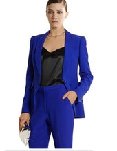 Personnalisé bleu Royal Bussiness formel élégant femmes costume ensemble Blazers et pantalons bureau costumes dames femmes pantalon costumes pantalon costumes