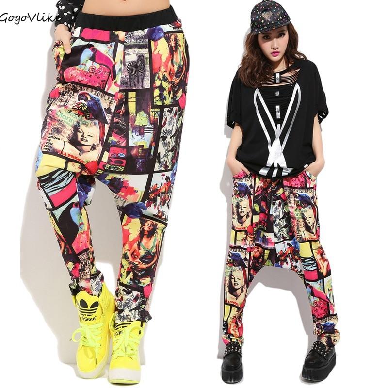 Cross pants Colorful 2017 Women Casual Hip Hop Trousers  Casual Street Pants Harem Dance singer costume LT646S30