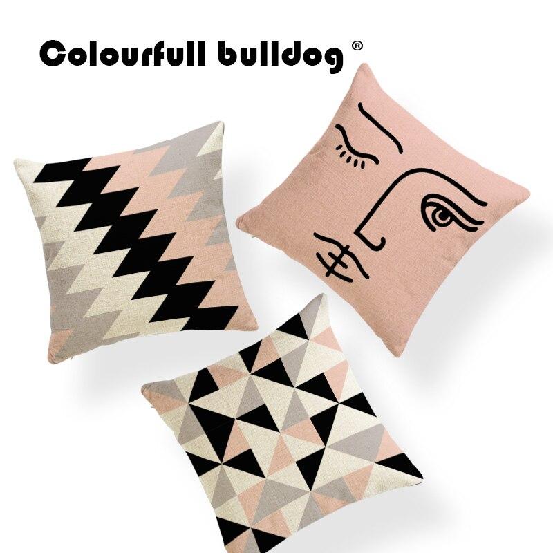 Geometr, funda de almohada rosa para cejas, cuadros de Búfalo, geometría de la cara, Beige, reclinable, raya de línea, enrejado, cojines de almohada