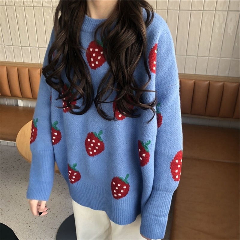 ¡Novedad! OllyMurs para mujer de Jersey de punto, suéter cálido para otoño e invierno, jerséis holgados de fresa a la moda coreana, prendas de punto