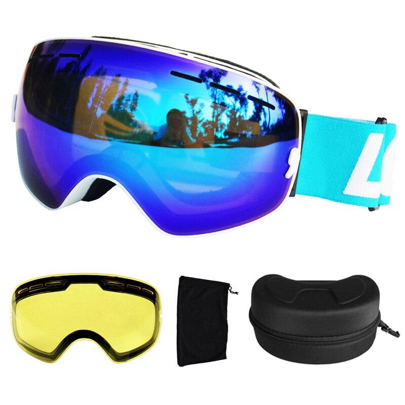 Gafas de esquí LOCLE UV400, gafas de esquí de doble capa antiniebla, gafas de esquí y Snowboard, gafas de esquí con una caja y una lente adicional