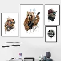 cartoon bear leopard cat guitar music wall art canvas painting nordic posters and prints animal wall pictures kids room decor