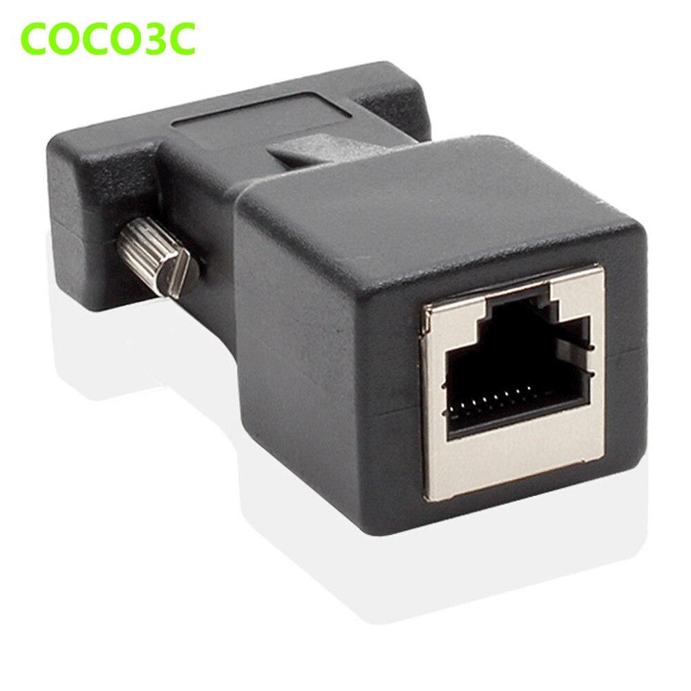 Conector hembra de 9 pines RS232 a hembra RJ45 puerto a puerto COM adaptador de puerto Ethernet LAN