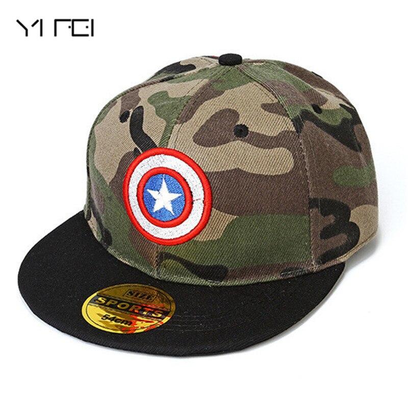 2018 Capitán América camuflaje gorro de hip hop niños Superman, BatMan, gorra de béisbol de Snapback para chico sombrero de sol gorra estrella