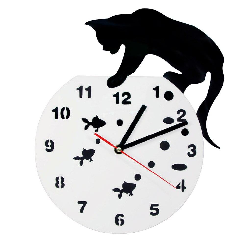 Акриловые настенные часы с изображением кошки и рыбьей чаши, креативные декоративные настенные часы для детской комнаты, современные 3D нас...