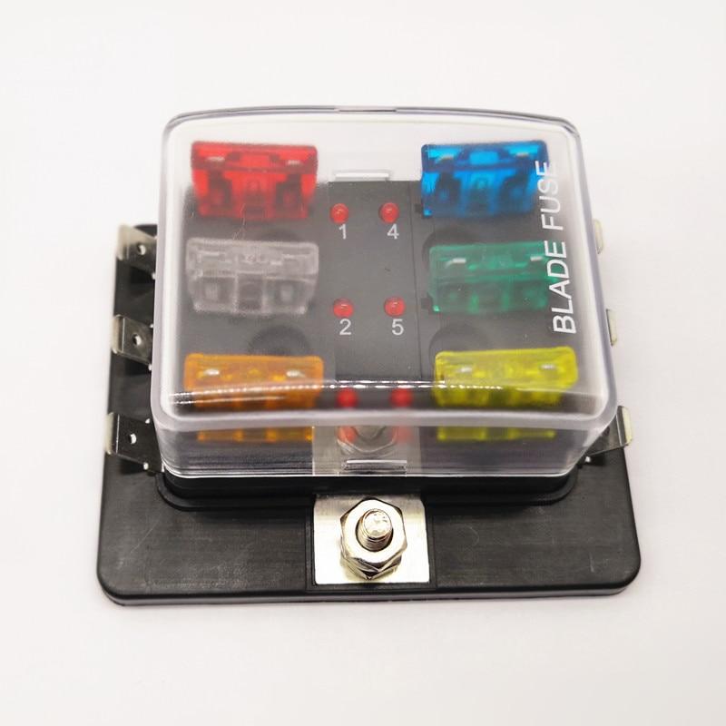 6 Way Circuit Car Truck Automotive Fuse box ATC ATO Blade Box Fuse Holder Kit Medium Size with LED Indicator P0033