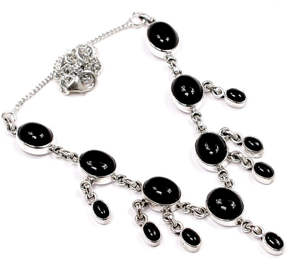Lovegem Genuine Black Onyx Necklace 925 Sterling Silver, NE0003