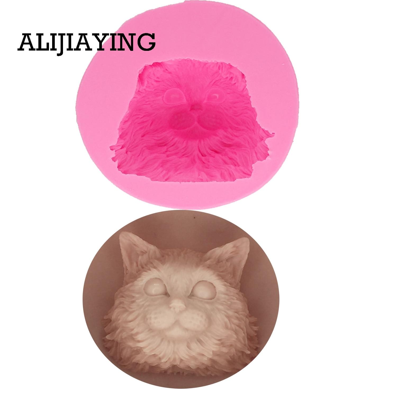 M1296 DIY Kat hoofd Silicone Mold Sugarcraft Candy Fondant Mallen Cake Decorating Gereedschap Soap Hars Klei Chocolade Mallen