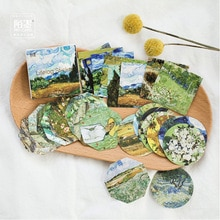 45PCS/sets Van Gogh Stickers Artist Classic Painting Traveler Notebook Diary DIY Decoration Stickers Stationery Sticker TZ47