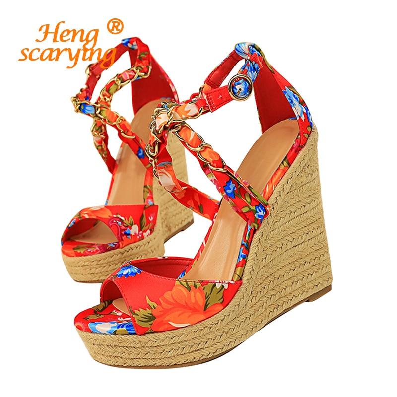 Women Summer 13cm High Heels Wedges Platform Silk Sandals Fetish Luxury Design Pumps Female Satin Strap Heels 2020 Summer Shoes