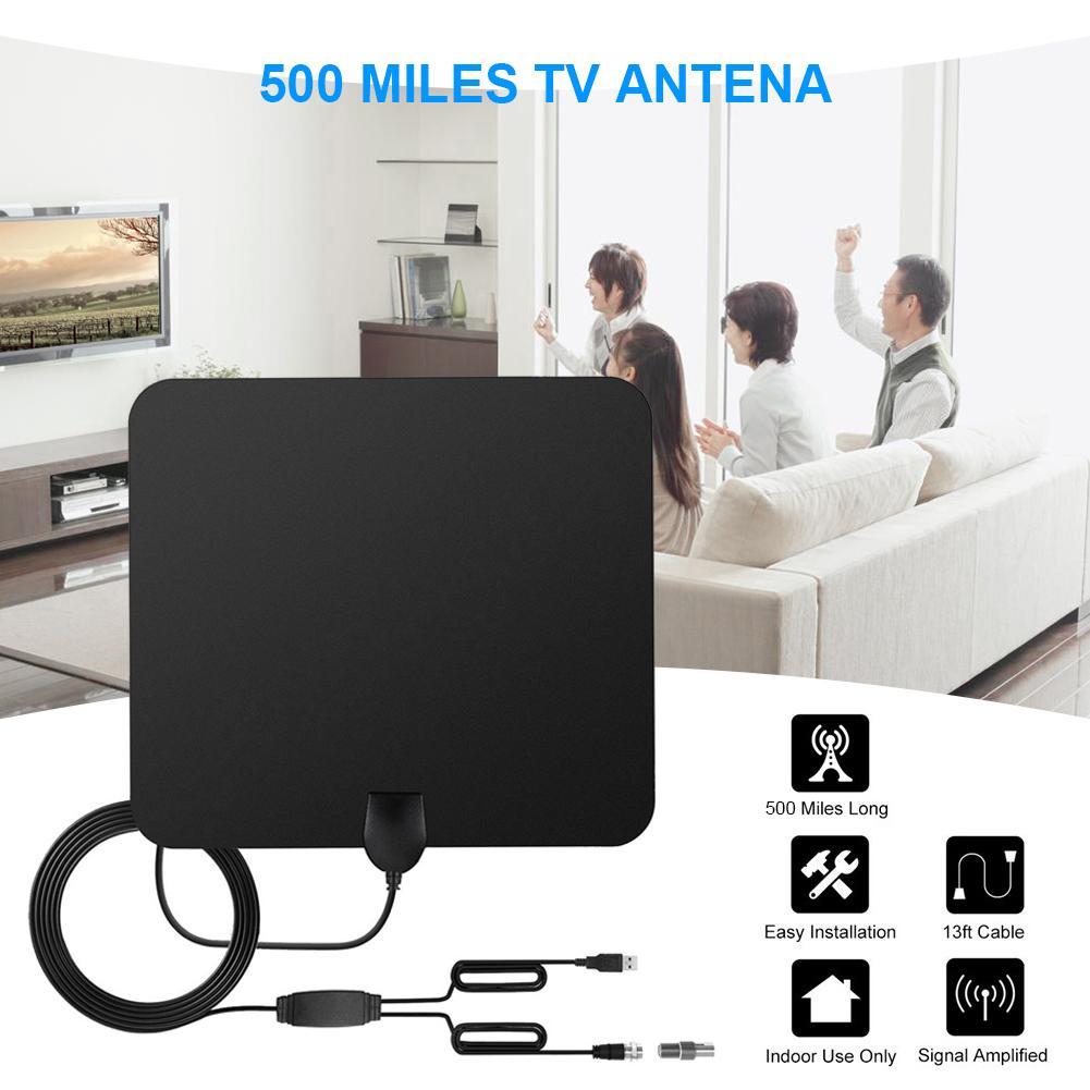 AMPLIFICADOR DE SEÑAL DE Antena De Tv Digital para interior HD TV de 500 millas Antena De TV Digital interior con pegamento adhesivo