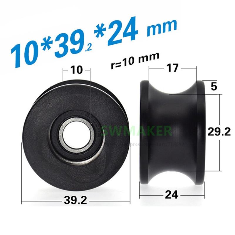 1 piezas 10*39*24mm 6900RS teniendo polea rodamiento recubierto de plástico con rodillo acanalado en U, rueda de guía R10 de 20mm de diámetro