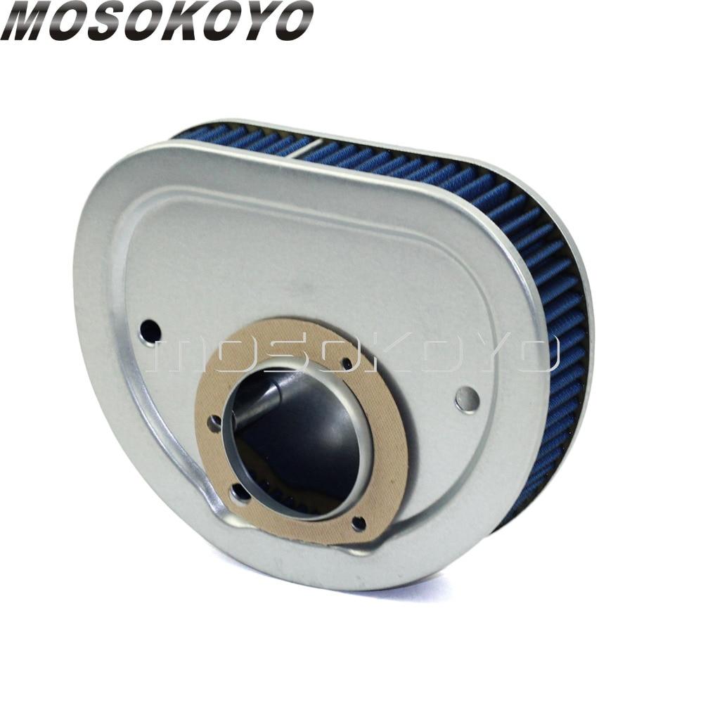 Limpiador de filtro de entrada de aire de alto flujo de motocicleta azul para Harley Dyna FXD/FLD Touring Softail Slim FLS FX con cámara gemela 1999-2011