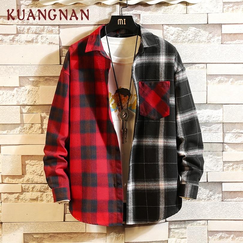 KUANGNAN Japón estilo almazuela roja camisa Streetwear hombres Camisas Casual coreana Slim Fit camisa manga larga para hombre 2019 primavera nueva