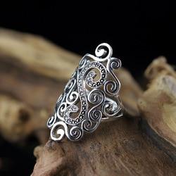 L & P Venda Quente 100% Reais 925 Esterlina Anéis De Prata Do Vintage para Mulheres Handmade Oco Cloulds Anel Fine Jewelry Para O Aniversário presente