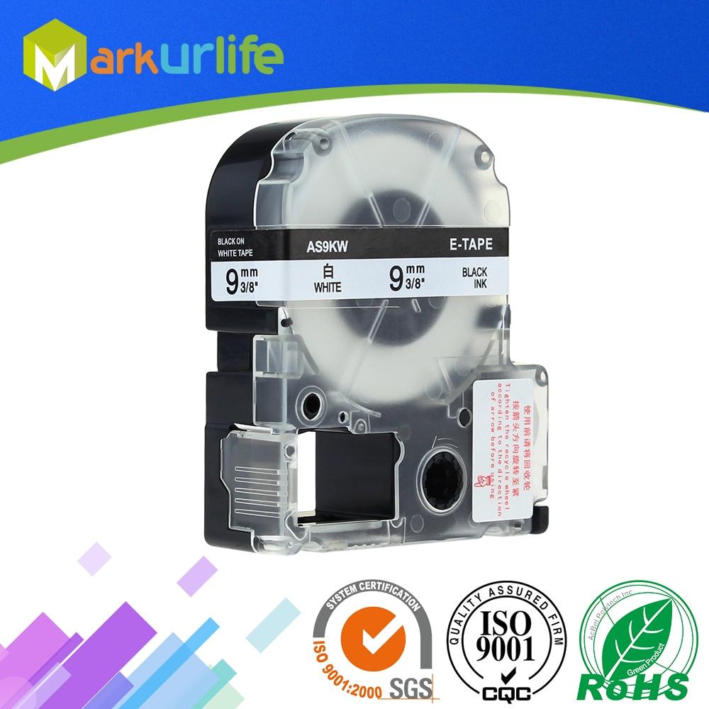 Совместимый с Epson Labelworks SS9K SS9 кВт, 1 упаковка, LW-300, LW-400, LW-500, лента для мейкера, картридж для заправки, черный, белый, 9 мм