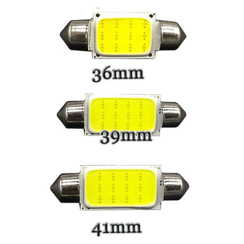 100 Uds camión LED 24V Auto cúpula guirnalda de luz COB 12 Chip 12Chips 36mm 39mm 41mm C5W C10W luz Interior para matrícula luz 24V