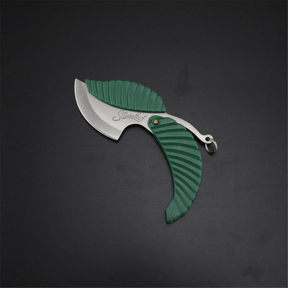 Mini couteau de poche en forme de feuille   Pliant de voiture, styliste porte-clés coupe-pliage en plein air, Camping randonnée survie outil