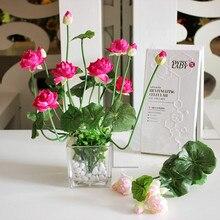 11 cabeça Mini artificial flor de lótus de seda com folhas Verdes plantas de Mesa vaso decoração de casa