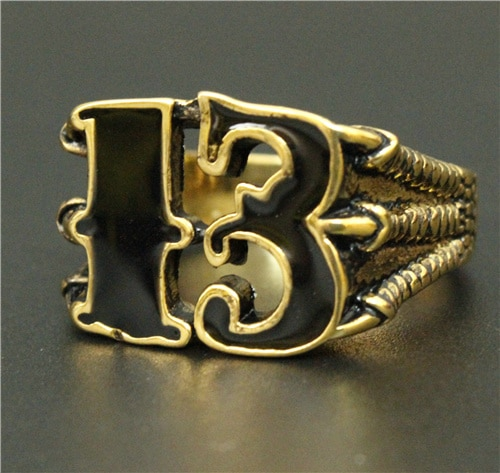Newest Mens Boys Golden Biker 13 ring Titanium steel 316L Best Jewelry Ring