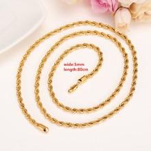 Mannen Vrouwen Geel Solid Gold Filled Twist Touw Karabijn Collier 80 cm 31 inch Hiphop Rots sieraden verlenging