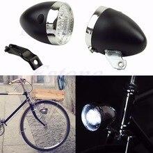 Nouveau 2017 arrivée rétro 3 LED vélo vélo Chrome visière balle phare avant/feu arrière