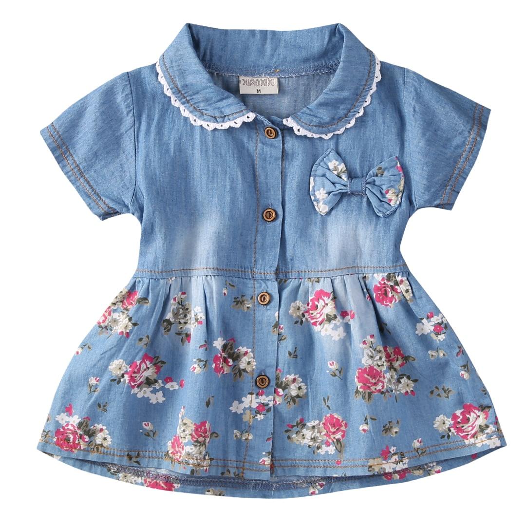 Flower Girl Summer Princess Denim Jean Dress Kid Baby Party Wedding Pageant Dresses Clothes Autumn New