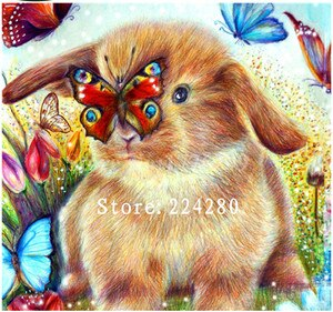 Needlework,Handwork 14CT Embroidery Animal Cute Rabbit Butterfly Color DIY Aida Cross stitch kits,Art Cross-Stitching Home Decor