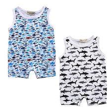 Summer 2017 Shark Pattern Newborn Baby Boy Girl Romper Sleeveless Cotton Jumpsuit Clothes Outfits