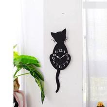 Acryl Mode Kreative Tier Grafiken Uhr Cartoon Nette Katze Wanduhr Home Decor Uhr Weg Schwanz Bewegen Stille m17 30 +
