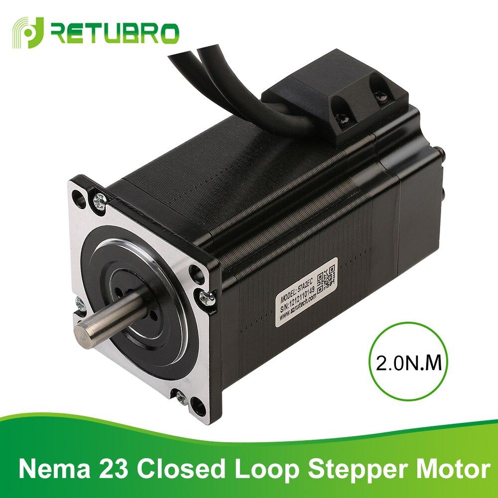 RETUBRO-محرك متدرج ثنائي الطور 57A2EC Nema 23 ، شفة 57 مللي متر ، 2 نانومتر 4A ، حلقة مغلقة ، محرك متدرج عالي الجودة