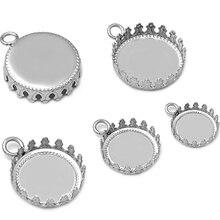 20 pièces en acier inoxydable pur bricolage diamètre intérieur 12 MM-15 MM couronne pendentif accessoires vierges vente en gros