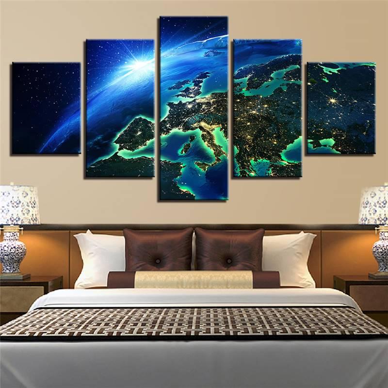 Lienzo impreso en Hd Marco de póster decoración de pared del hogar arte 5 piezas superficie del espacio tierra paisaje pintura para sala de estar imágenes modulares