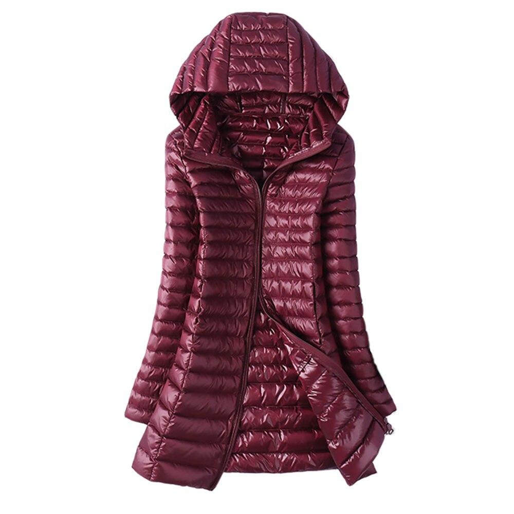 Chaqueta de plumón de pato para mujer Otoño Invierno parkas largas ajustadas para mujer 6XL abrigo cálido con capucha de talla grande prendas de abrigo ultraligeras rompevientos
