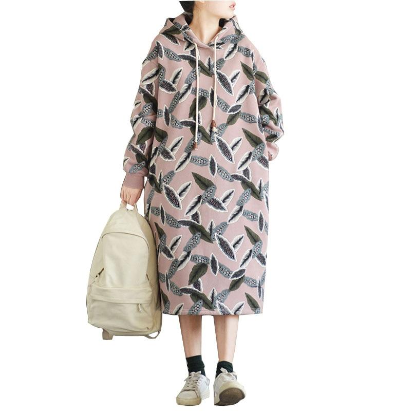 Sudadera con capucha vestido de mujer de lana gruesa hojas sueltas estampado largo Casual Hoodies vestido