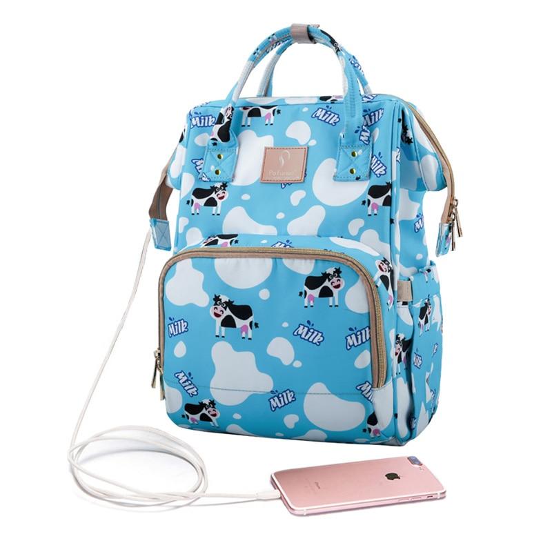 Diaper Bag USB Nappy Bag Waterproof Maternity Travel Backpack Designer Nursing Bag Baby Care Stroller Printing PatternHandbag